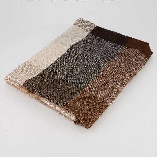ALPACA THROW - BLACK, BROWN & ECRU CHECK