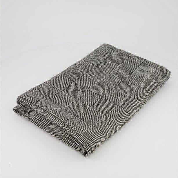 ALPACA THROW - BLACK & WHITE BASKET WEAVE