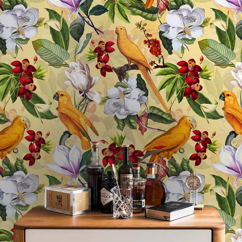 Yellow Parrots In Tropical Flower Magnolia Jungle – on shiny yellow