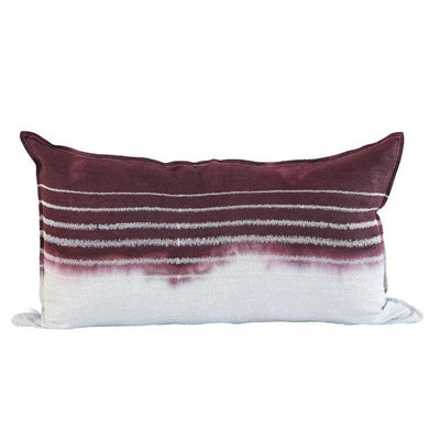 EVOLUTION PRODUCT USA NEW YORK EMBROIDERED STRIPE STONE ON STONE THROW PILLOW, DIPPED PLUM
