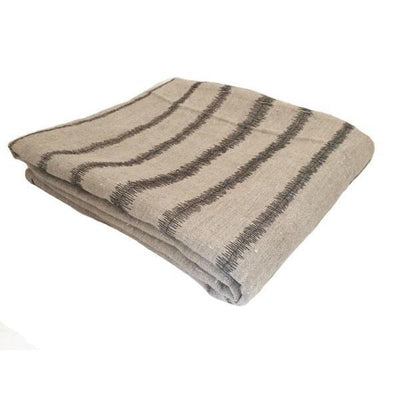 STRIPE THROW CHARCOAL ON STONE, PLAIN by Evolution Product at SARZA. decor, Evolution Product, homeware, linens, throws, Varied Origins Collection