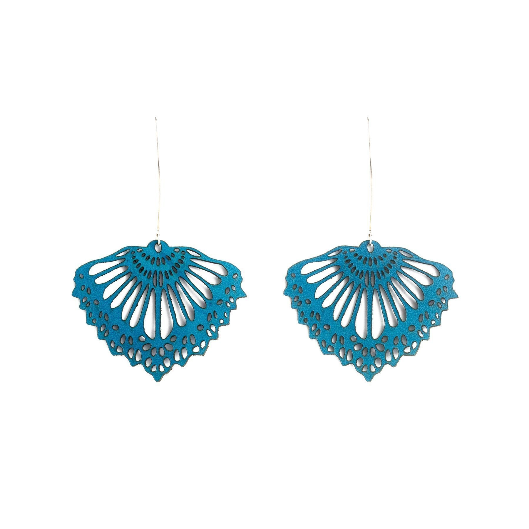 FAN LEATHER EARRINGS TEAL BY WHITE RABBIT DAYS JEWELRY. Laser cut from leather & hung on elegant sterling silver hooks. Subtly coloured, they transition effortlessly between day & night.