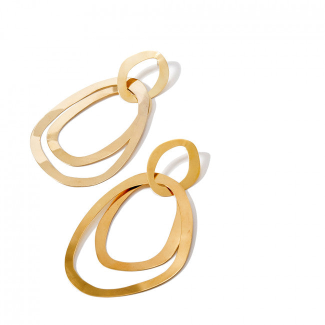 TONICS EARRINGS -  JEWELRY BY KIRSTEN GOSS. Hand crafted organic fine triple sphere hoops. Beautifully handmade in 18kt yellow gold vermeil.
