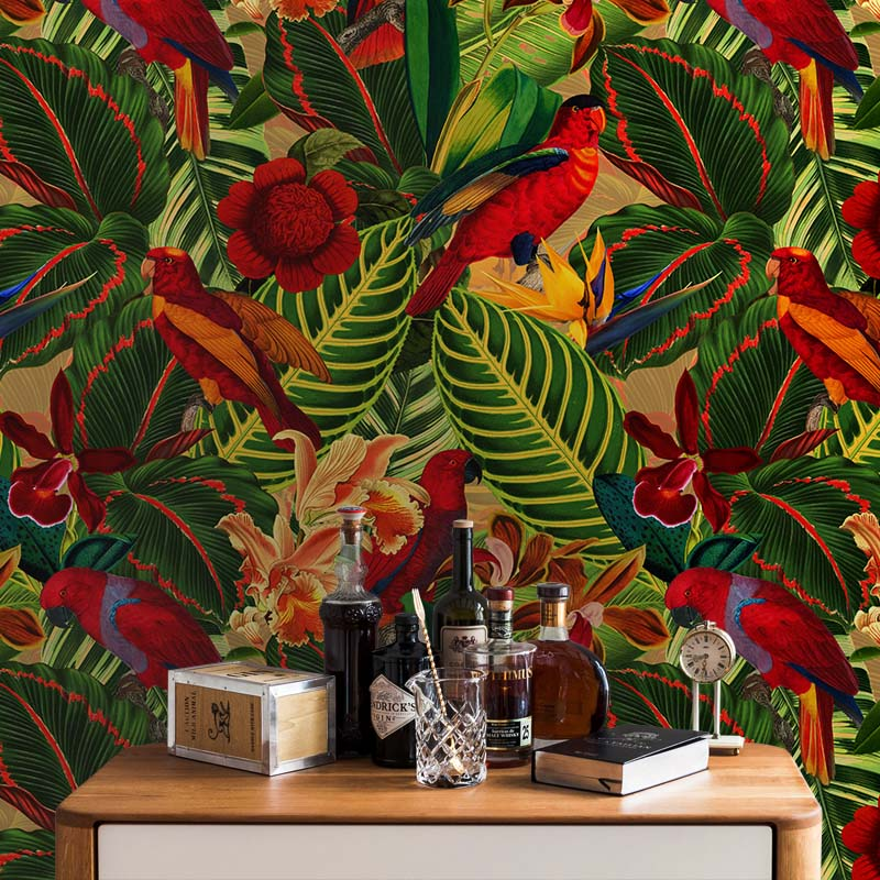 Tropical Jungle with Red Parrots Dark