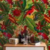 Tropical Jungle with Red Parrots by Robin Sprong at SARZA. Botanical, Floral, Robin Sprong, Tropical, Uta Naumann, Wallpaper, Wildlife