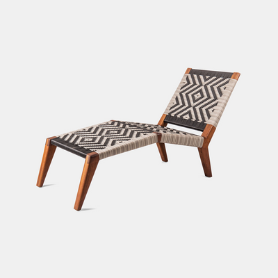 The Upright Mantis Lounger by Vogel Design is available in a selection of timbers and finishes. The woven base is available in an assortment of patterns, weaves and colors.