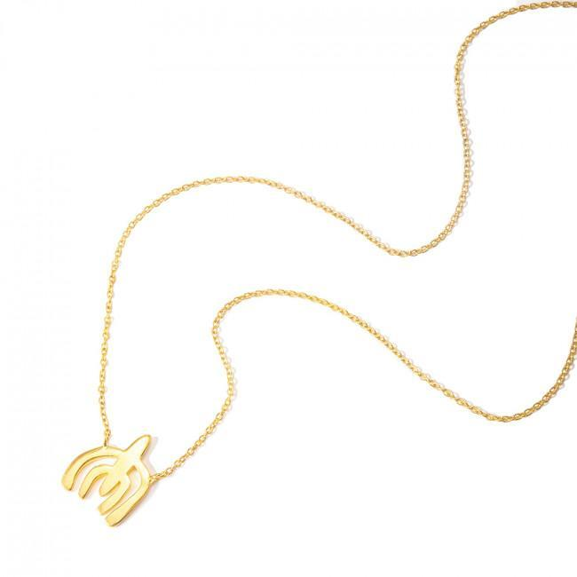 WILDCARD NO.23 NECKLACE - JEWELRY BY KIRSTEN GOSS. Short wildcard necklace with organic mini shape. Beautifully handmade in 18kt yellow gold vermeil.