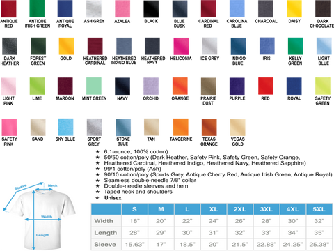 Gildan 2000 T-Shirt Colors and Sizes