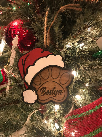 3D Santa Paws Personalized Ornament