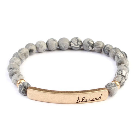 """BLESSED"" GRAY NATURAL STONE STRETCH BRACELET"