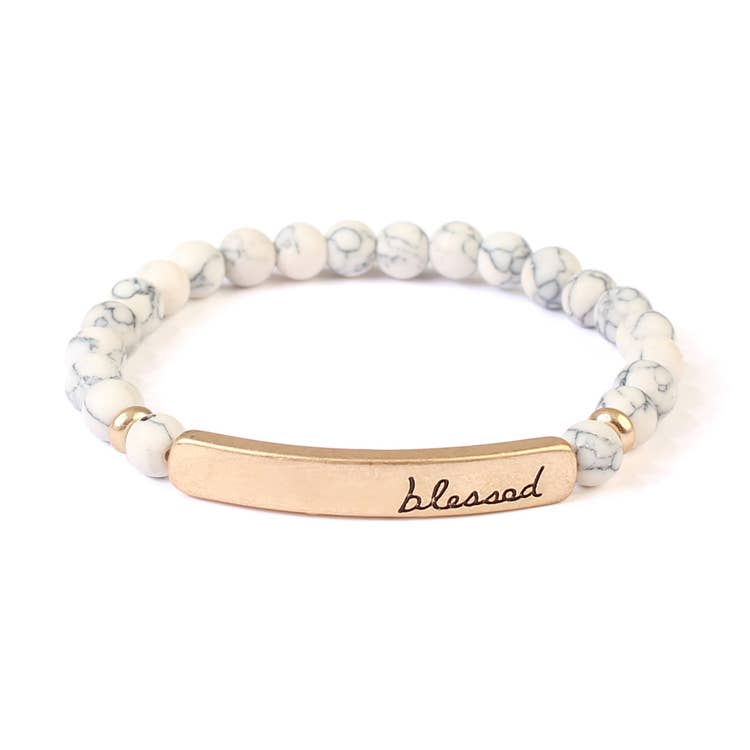 """BLESSED"" WHITE NATURAL STONE STRETCH BRACELET"