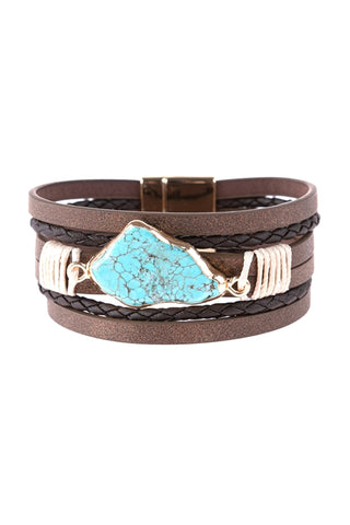 BROWN MULTI LINE LEATHER WITH TURQUOISE STONE MAGNETIC LOCK CHARM BRACELET