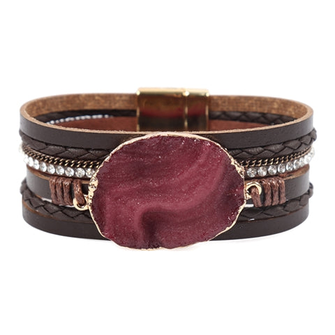 MULTI STRAND LEATHER/LARGE STONE BRACELET
