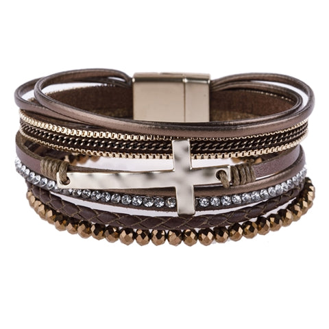 MULTI STRAND LEATHER /METAL CROSS BRACELET