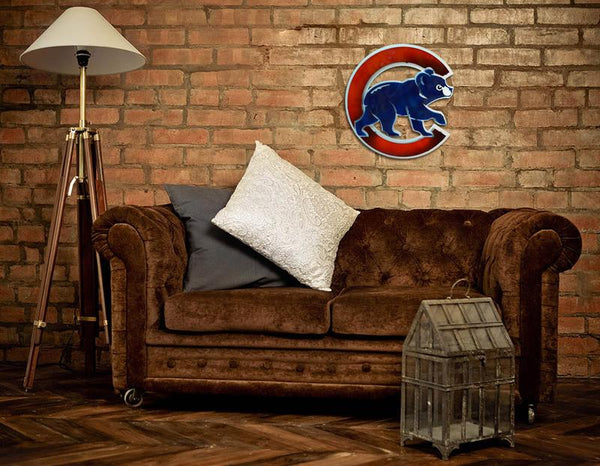 Cubs Bear 3D Vintage Metal Art