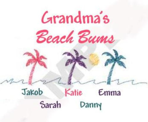 Grandma's Beach Bums 1 Embroidered Shirt