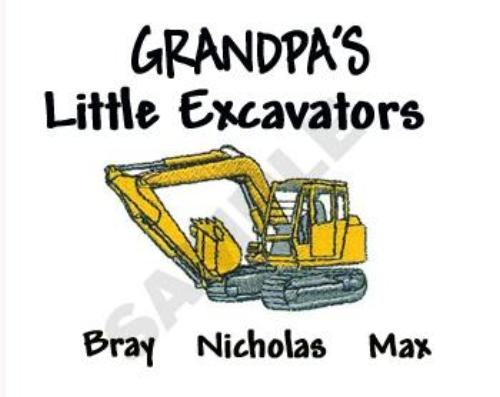 Grandpa's Little Excavators Embroidered Shirt