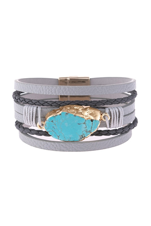 GRAY MULTI LINE LEATHER WITH TURQUOISE STONE AND MAGNETIC LOCK CHARM BRACELET