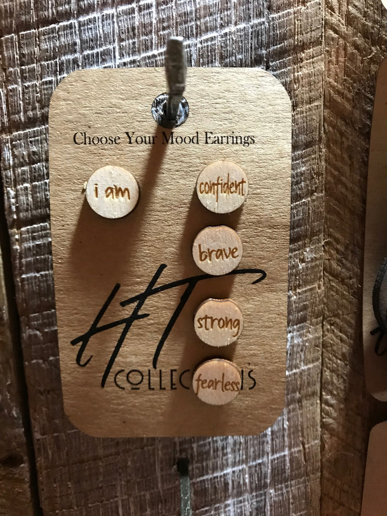 I Am Confident Brave Strong Fearless Choose Your Mood Stud Earrings