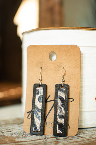 Rectangle  Wood with Leather Black and White Leather Inlay Earrings