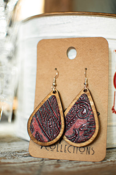 Burgundy Teardrop Wood with Leather Inlay Earrings
