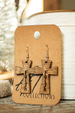 Cross Faith Wood Earrings