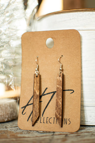 Long Angled Wood Earrings
