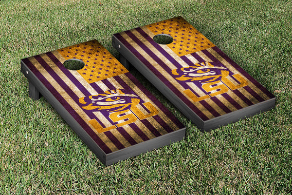 LSU State Cornhole Boards, Custom All Weather Cornhole Bags & Carrying Case Package