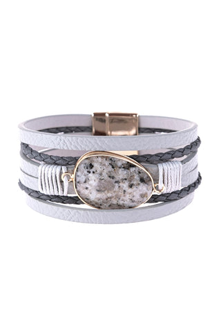 GRAY MULTI LINE LEATHER WITH MAGNETIC LOCK CHARM BRACELET