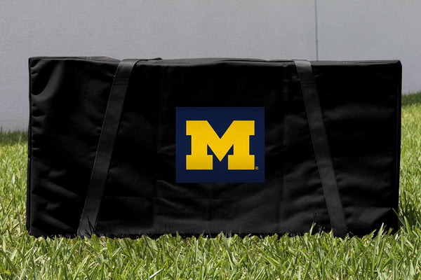 Michigan Wolverines Cornhole Boards, Custom All Weather Cornhole Bags & Carrying Case Package