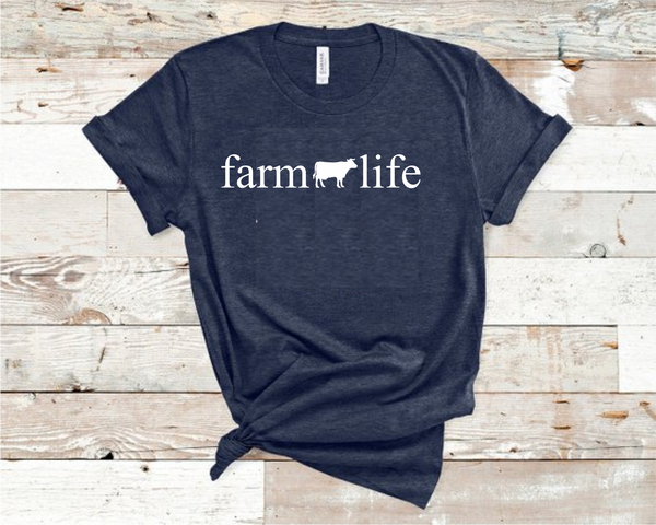 Farm Life Cow Heather Navy T-Shirt