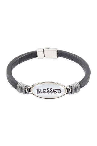 """BLESSED""  ANIMAL PRINT GRAY LEATHER MAGNETIC BRACELET"