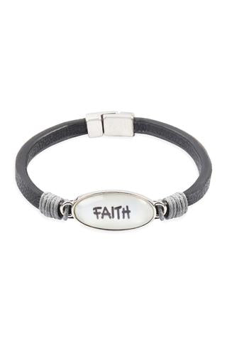 """FAITH""  ANIMAL PRINT GRAY LEATHER MAGNETIC BRACELET"