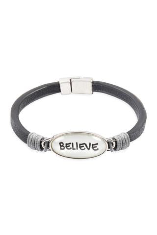 """BELIEVE"" ANIMAL PRINT GRAY LEATHER MAGNETIC BRACELET"