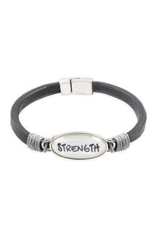 """STRENGTH"" ANIMAL PRINT GRAY LEATHER MAGNETIC BRACELET"
