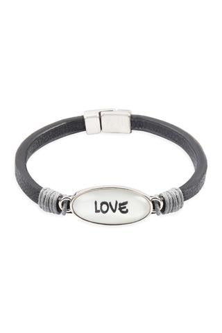 """LOVE"" ANIMAL PRINT GRAY LEATHER MAGNETIC BRACELET"