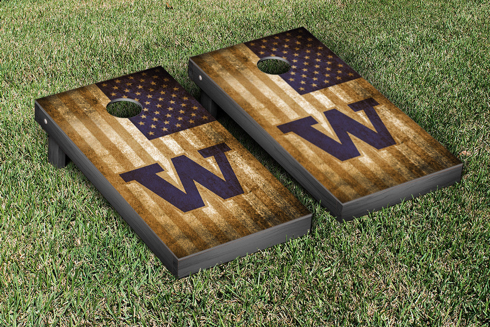 Washington State Cornhole Boards, Custom All Weather Cornhole Bags & Carrying Case Package