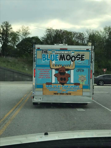 Back of The Blue Moose Frozen Yogurt Trailer Wrapped