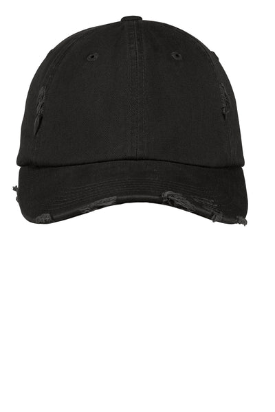Black Distressed Pigment Dyed Hat