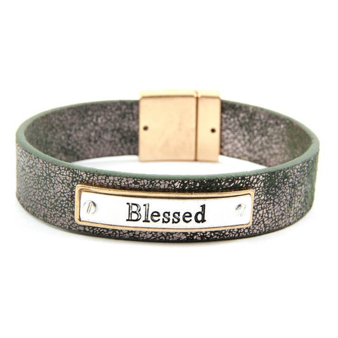 """BLESSED"" FAUX LEATHER DARK GREEN BRACELET"