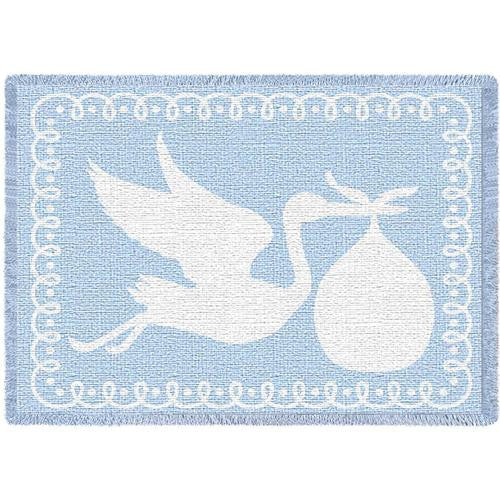 Blue Baby Boy Stork Blanket
