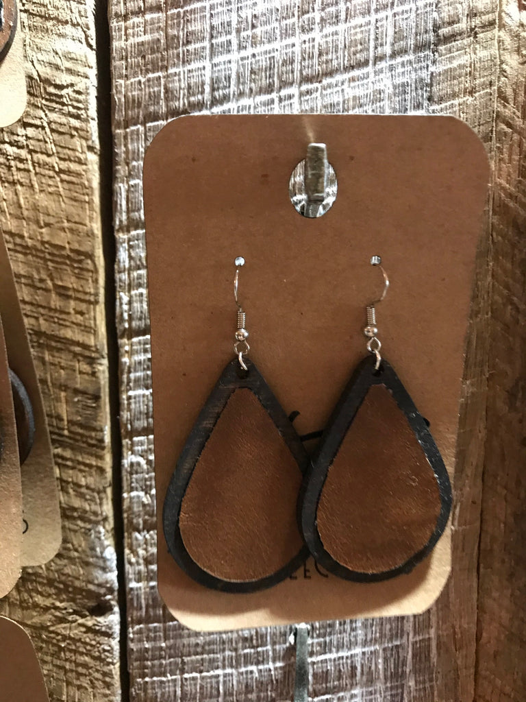 Dark Walnut Teardrop Wood with Brown Leather Inlay Earrings