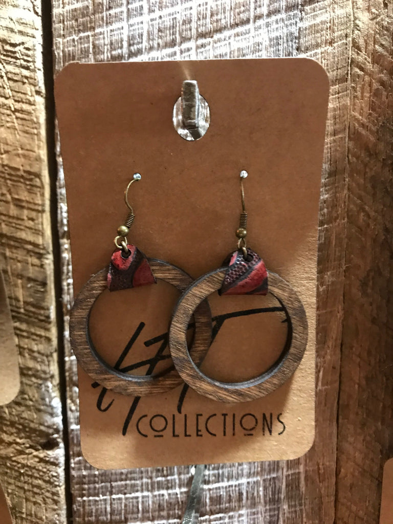 Open Circle Wood with Burgundy Leather Earrings