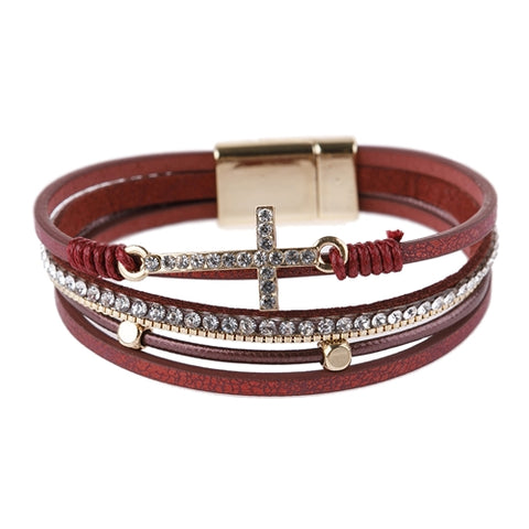 BURGUNDY MULTI STRAND CROSS BRACELET