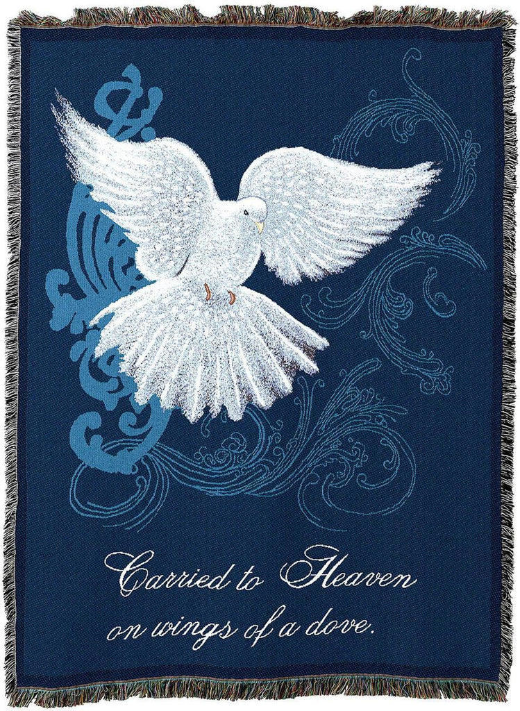 Memorial Dove Funeral Bereavement Sympathy Gift Blanket | Woven Tapestry