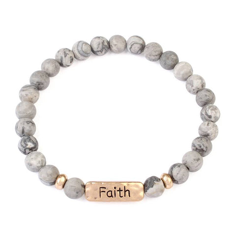 """FAITH"" NATURAL STONE MESSAGE STRETCH BRACELET"