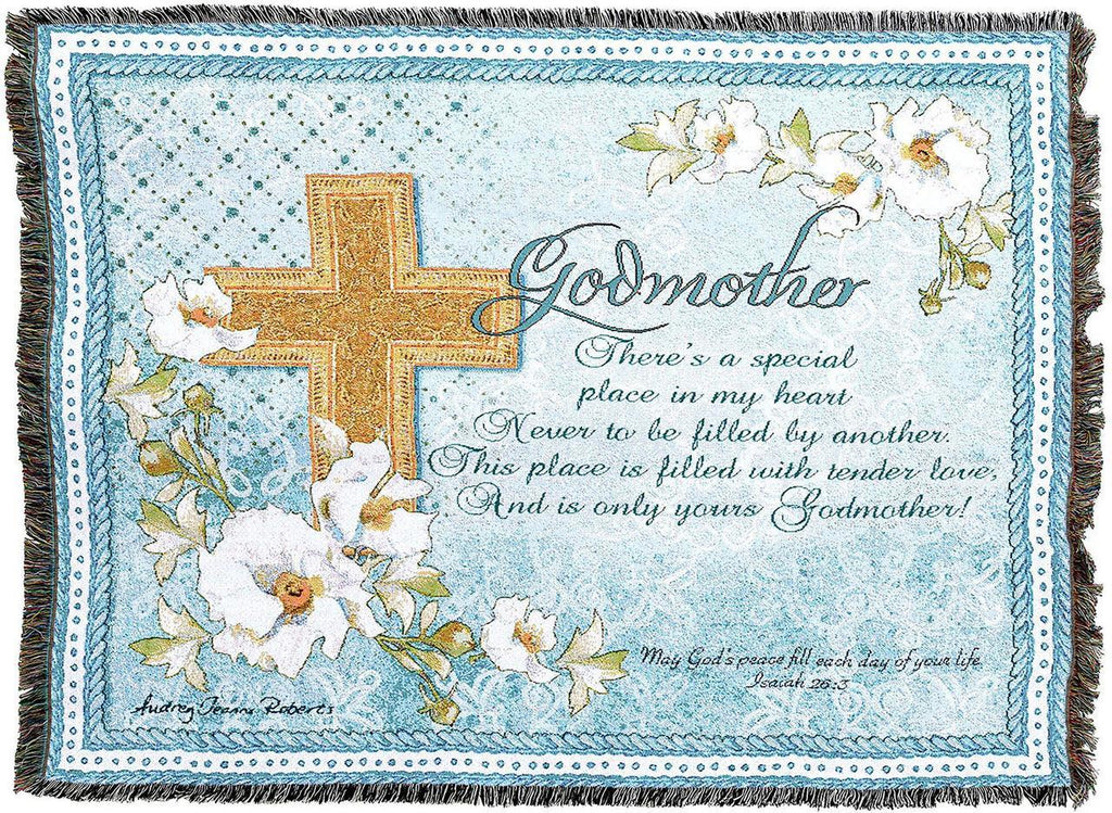 Godmother Gift Religious Woven Tapestry Throw Blanket
