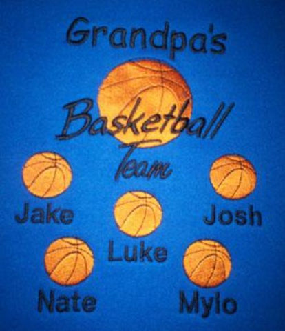 Grandpa's Basketball Team Embroidered Shirt