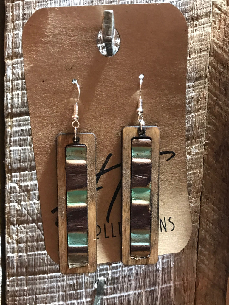 Rectangle Wood with Leather Green , Brown and Tan 2 Leather Inlay Earrings