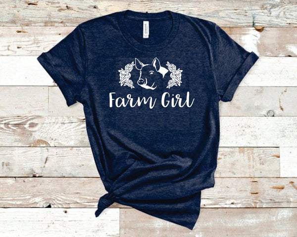 Farm Girl Pig Heather Navy Bella T-Shirt